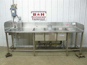 8 5 Stainless Steel Heavy Duty 3 Bowl Three Compartment Sink W Hand Sink 101
