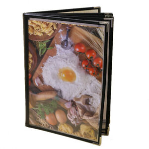 5x transparent Restaurant Menu Covers For A4 Size Book Style Cafe Bar 6 Pages 12