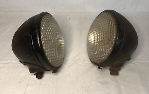 2 Vintage Guide Headlights Tractor Lens Bullet Style Car Truck Motorcycle Ratrod