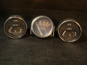 Vintage Smiths Temp Fuel And Neihoff Oil Pressure Gauge Trio