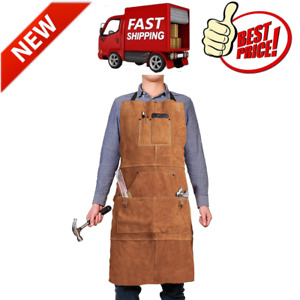 Leather Work Shop Apron With 6 Tool Pockets Heat Flame Resistant Heavy Duty New