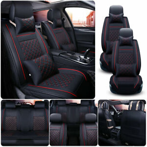 Black red Pu Leather Car Seat Cover 5 sits Suv Universal Accessories Full Set Us