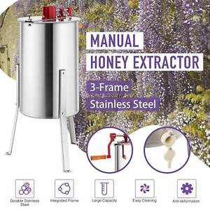 3 frame Manual Honey Extractor Bee Honey Extraction Separator Drum W Stand Ss