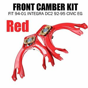 Adjustable Steel Front Camber Kit Fit 1994 2001 Integra Dc2 92 95 Civic Eg Red