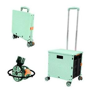 Foldable Utility Cart Folding Portable Rolling Crate Handcart With Green