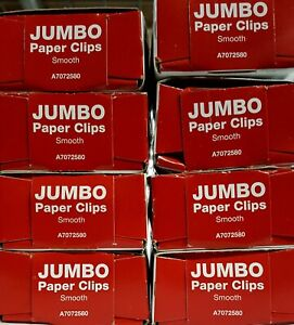 Acco Paper Clips Jumbo Size Smooth Economy Grade 8 Boxes 800 Clips Total