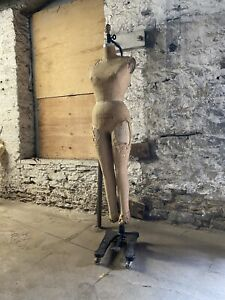 Antique Wolf Industrial Full Body Dress Form W Stand Union Made Mannequin