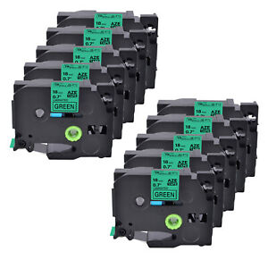 10pk Tz 741 Label Tape Black On Green Tze 741 For Brother P touch Pt d600 18mm