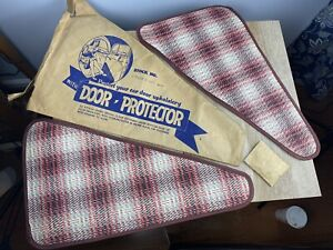 Pair Of Vintage Nos Red Plaid Upholstery Door Protector Accessory Hot Rod Rat