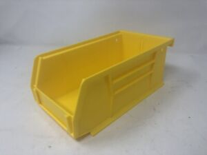 3pk Yellow Plastic Stackable Or Hang Storage Bin Toys Tools Parts 7 1 2 X 4 X 3