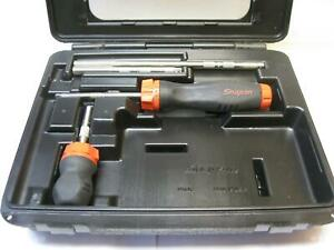Snap on Tools Red Ratcheting Soft Grip Screwdriver Set With Case Usa Mint