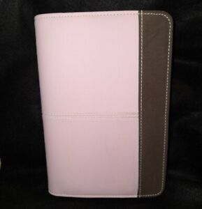Day Runner Planner Organizer Cover Zip Around 6 Ring Pink And Brown
