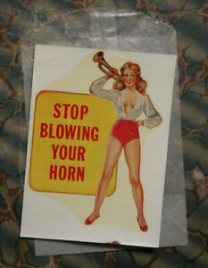 Original Vintage Travel Decal Pinup Gga Hot Rod Horn Rat Old Risque Auto Glass