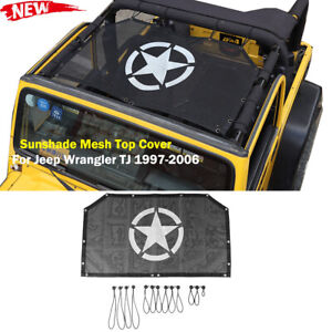 Front Sun Shade Mesh Bikini Top Half Cover For 1997 2006 Jeep Wrangler Tj 2 Door Fits More Than One Vehicle