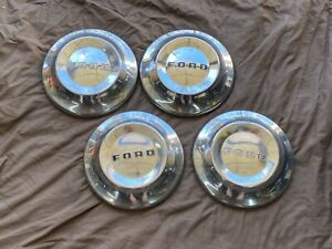 1952 1954 Ford Dog Dish Poverty Hubcap Center Caps Set Of 4