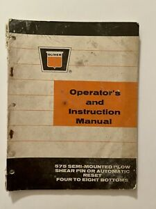 Oliver Operators Instruction Manual 575 Semi mounted Plow Free Shipping
