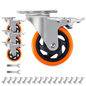 4 Inch Plate Casters Wheels 2000lbs Heavy Duty Casters With Brake Polyuretha