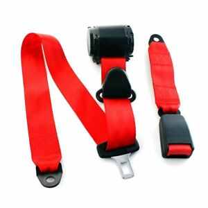 1kit Fits Vxxx 3 Point Fixed Harness Safety Belt Seatbelt Lap Strap Car Red