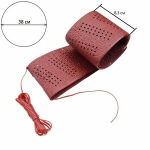 38 Cm Perforated Dark Red Soft Grip Lace Up Cover Steering Wheel Protector