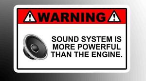 Warning Sound System Funny Vinyl Decal Sticker Sub Woofer Jdm Competition Amp