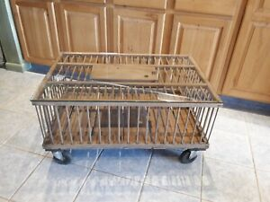 Antique Primitive Farmhouse Wooden Chicken Crate Coffee Table On Casters