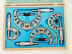 Nsk Micrometer Set 0 4 Carbide Tips 001 W Standards Thumb Lock Ratchet Stop