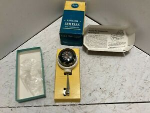 Vintage White Taylor Navigator Auto Or Boat Compass Swivel Bracket In Box 2957
