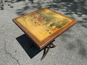 Antique Rare Folding Card Table Fox Hunt Scene