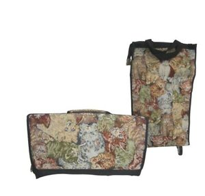 Jade Tapestry Rolling Shopping Cart Folding Travel Cats Kittens Extra Luggage