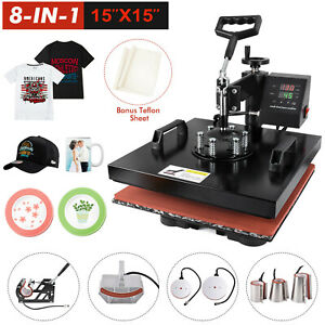 15 x15 8 In 1 Combo T shirt Heat Press Transfer Machine Sublimation Swing Away