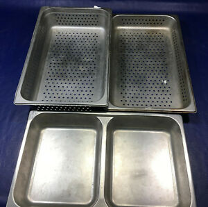Lot Of 3 Stainless Steel Full Size 2 5 4 Deep Steam Table Pans Perforated