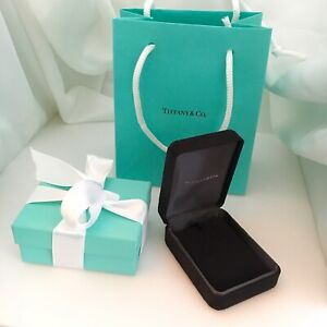 Tiffany Co Necklace Presentation Black Suede And Blue Gift Box Jewelry Storage
