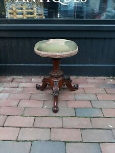 Antique Exotic Wood Piano Or Foot Stool