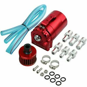 Red Cylinder Aluminum Engine Oil Catch Reservoir Breather Can Tank Filter Kit
