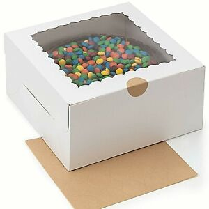 Cake Boxes For Packaging 25 pk 10 X 10 X 5 Sturdy White Cake Boxes W Stickers