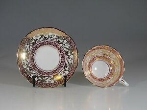 Royal Stafford Pink With Gold Floral Chintz Tea Cup And Saucer England C 1957