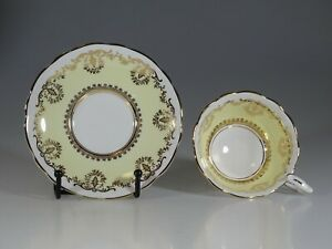 Royal Stafford Yellow And Gold Floral Garland Tea Cup And Saucer England C 1957