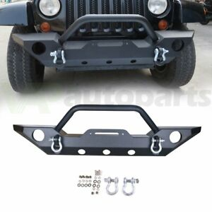 Heavy Duty Front Winch Bumper With D ring Fog Light Hole For Jeep Wrangler 07 18