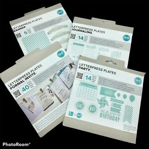Nip Lot Of 4 We R Memory Keepers Letterpress Plates 73 Pc Party Banner Journal
