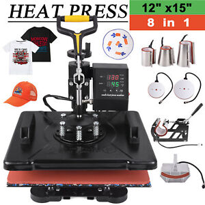 8 In 1 Heat Press Machine 12x15 Swing Away Transfer Sublimation T shirt Mug Hat