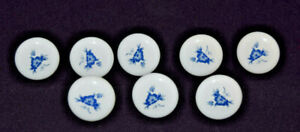 Antique Porcelain White And Blue Drawer Pulls 1 25