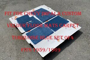 For Chevy Impala Ss Custom Floor Mats Carpet Turquoise Blue 4pcs 1959 1969 New