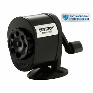 Bostitch Metal Antimicrobial Manual Pencil Sharpener Black Home Office Supplies