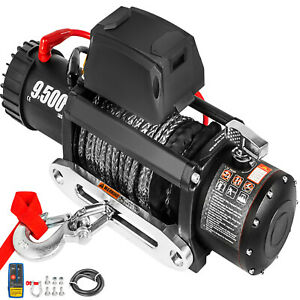 9500lbs Electric Winch 12v Synthetic Cable Truck Trailer Towing Off Road 4wd