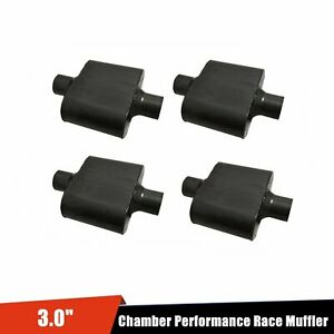 3 Inlet 3 Outlet Single Chamber Performance Race Mufflers 4pcs