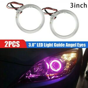 2pcs Purple Led Lights Guide Angel Eyes Halo Ring For Car Headlights Retrofit