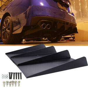 For Subaru Wrx Sti Rear Lower Bumper Diffuser Splitter 4 Fins Spoiler Lip Black