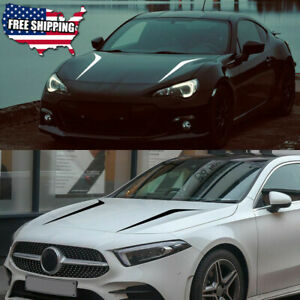 2pcs Universal Fit Racing Hood Stripes Decal Vinyl Stickers For Car Suv Truck