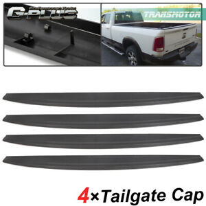 4pcs For 09 18 Dodge Ram 1500 Tailgate Top Protector Cap Molding Cover Spoiler