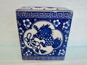 Antique Chinese Blue And White Porcelain Cat Pillow Box Opium Year 1875 1908